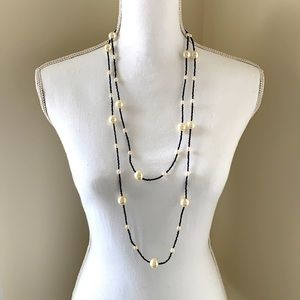 Faux pearl and black seed necklace
